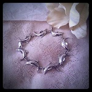 Vintage Sterling Dolphin Link Bracelet